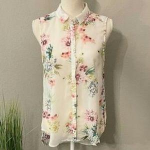 H&M Floral Chiffon Button Up Sleeveless Blouse
